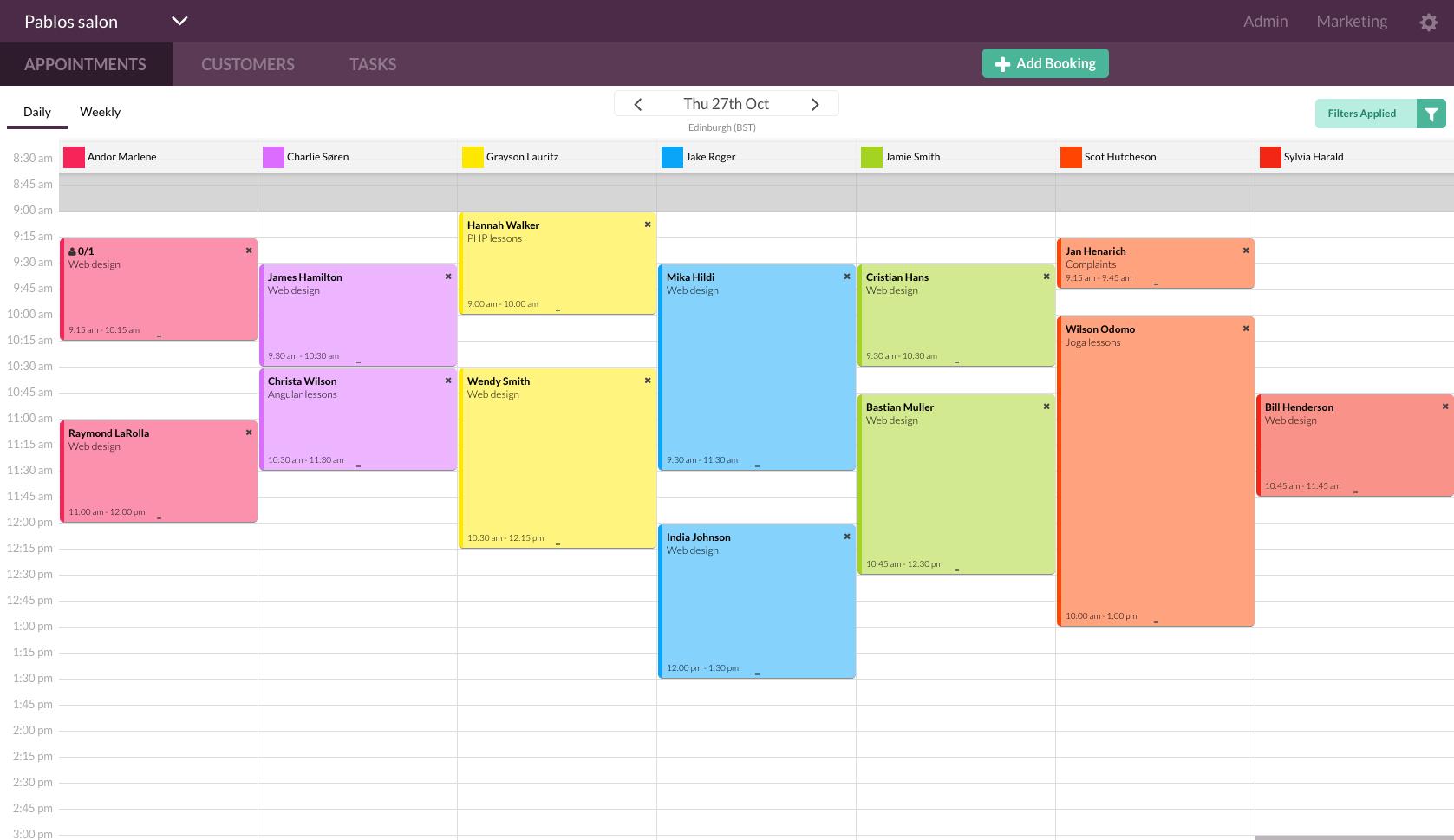 Appointedd online calendar
